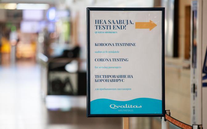 A sign for coronavirus testing at Tallinn Airport.