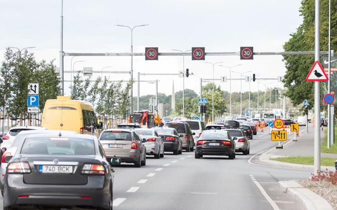 Traffic jam on Pirita road.