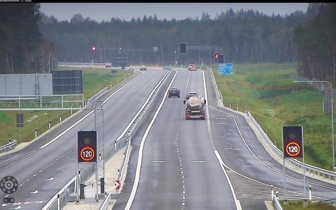 Участок дороги Козе-Выыбу на шоссе Таллинн-Тарту.