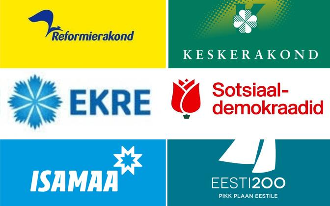 Logos of the six largest political parties in Estonia.