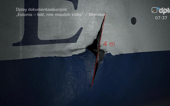 Screenshot from the recent documentary, showing the hole in the MS Estonia's starboard side.