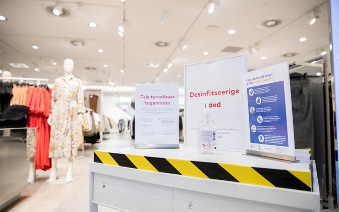 Sanitizer station at Ülemiste Center shopping mall in Tallinn.