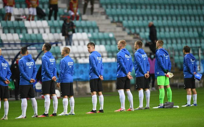 Estonian national football team players ahead of a clash with Georgia at the beginning of September.