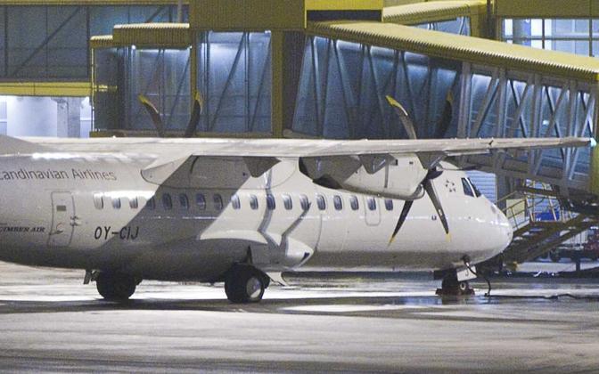 SAS-i lennuk ATR 42-500. Sama mudeliga hakkab Nyx Air vedama reisijaid Tallinna ja Kuressaare vahel.