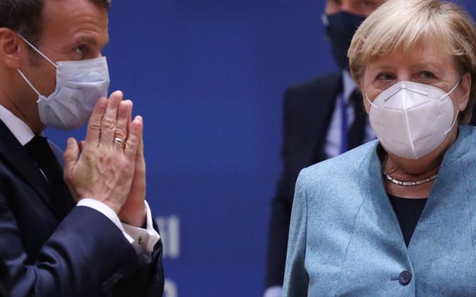 Prantsuse president Emmanuel Macron ja Saksa kantsler Angela Merkel.