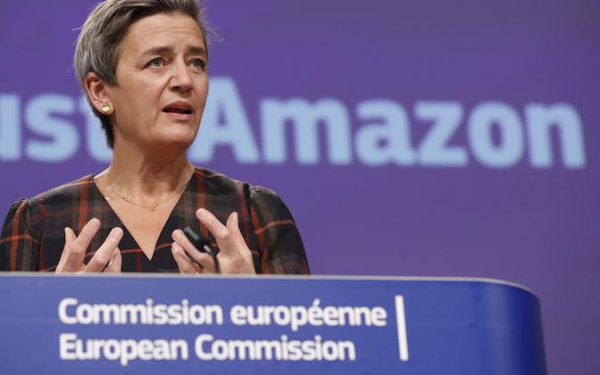 Euroopa Komisjoni asepresident, konkurentsivolinik Margrethe Vestager teisipäeval Amazoni puudutavat otsust tutvustades.