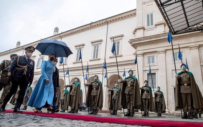 President Kersti Kaljulaid kohtumisel Itaalia presidendi Sergio Mattarellaga
