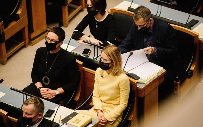 Chairman of the Reform Party Kaja Kallas at the riigikogu sitting on Monday, December 14.