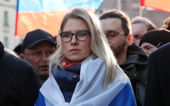 Ljubov Sobol opositsiooniliidri Boris Nemtsovi viiendal surma-aastapäeval Moskvas.