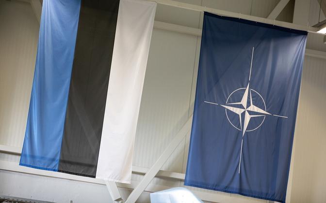 Estonia and NATO flags at Ämari air base.