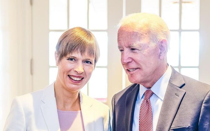 President Kersti Kaljulaid with new U.S. President Joe Biden, at an earlier meeting.