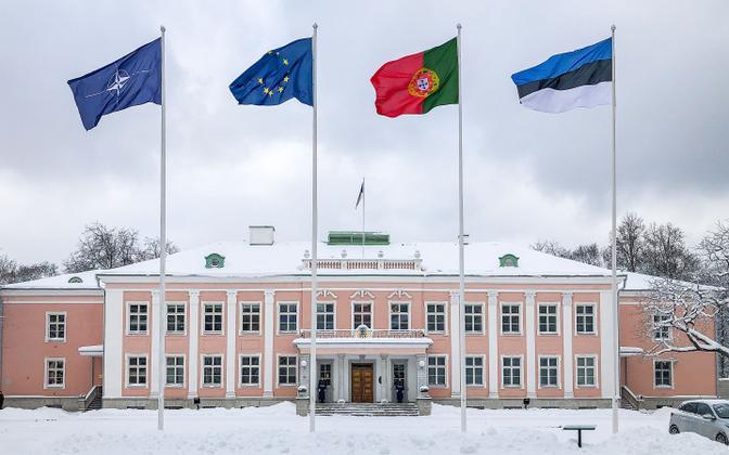 The Portuguese flag flying at Kadriorg on February 3, 2021.