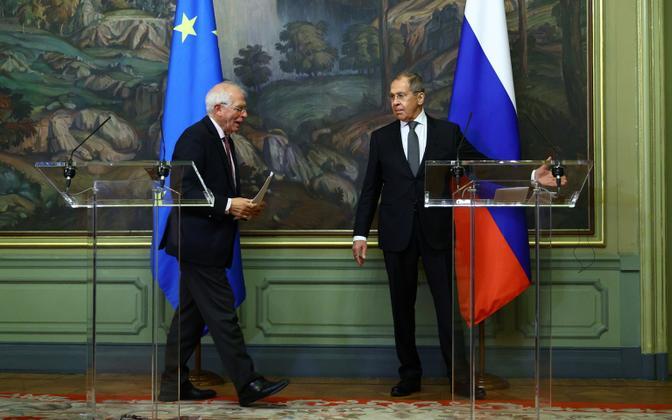Euroopa Liidu välispoliitikajuht Josep Borrell ja Venemaa välisminister Sergei Lavrov