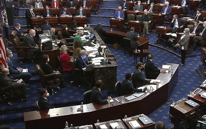 Senat hääletamas Trumpi tagandamisprotsessil.