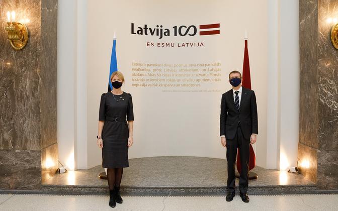 Estonian Minister of Foreign Affairs Eva-Maria Liimets and Latvian Minister of Foreign Affairs Edgars Rinkevics.