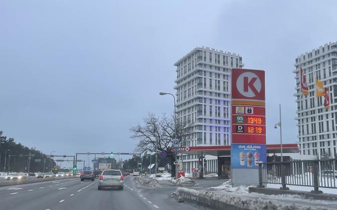 Fuel prices at a Tallinn filling station on Tuesday, February 22 2021.