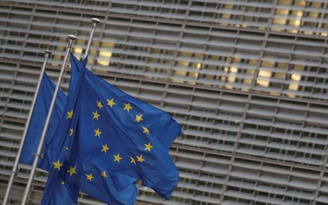 Euroopa Liidu lipus Brüsselis Euroopa Komisjoni hoone ees.