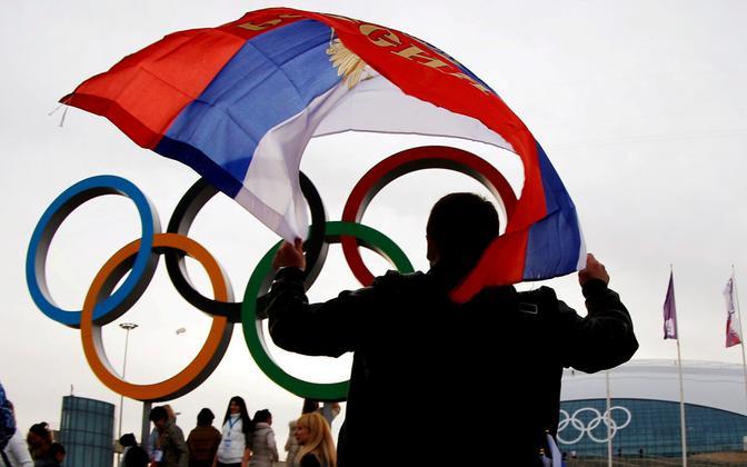 Vene lipp olüümpiarõngaste taustal.