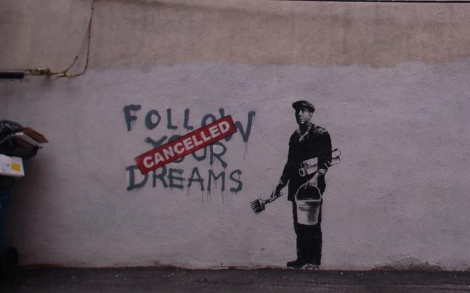 Tänavakunstniku Banksy teos tühistamiskultuurist Bostonis.