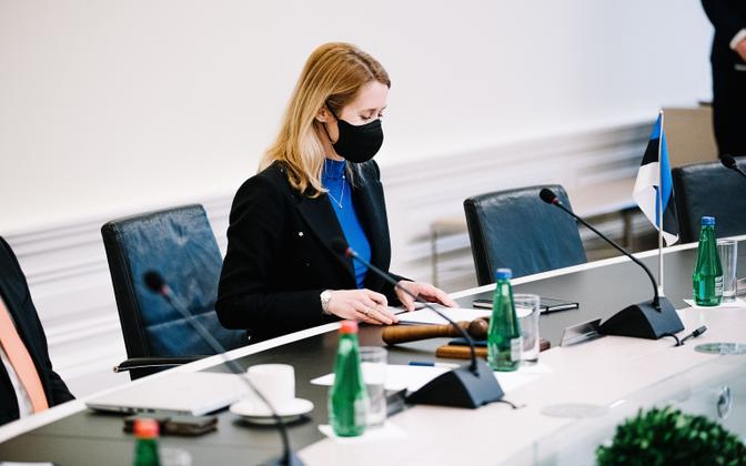 Kaja Kallas at Stenbock House during a cabinet meeting in January, 2021.