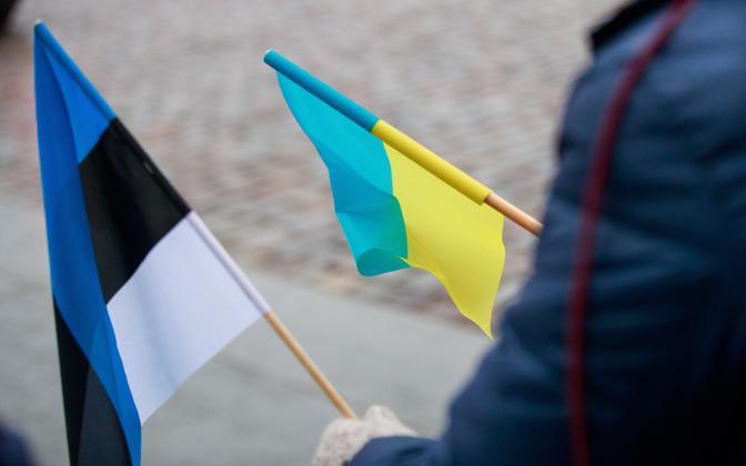 Флаги Эстонии и Украины.
