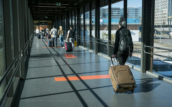 Travellers at Tallinn Airport.