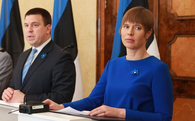 Jüri Ratas, when he was prime minister, together with President Kersti Kaljulaid.
