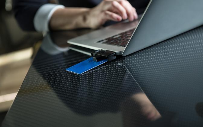 e-Residency card in a laptop.
