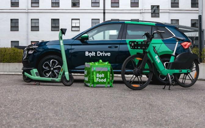 Bolt rental car, e-scooter, bike and food courier bag.