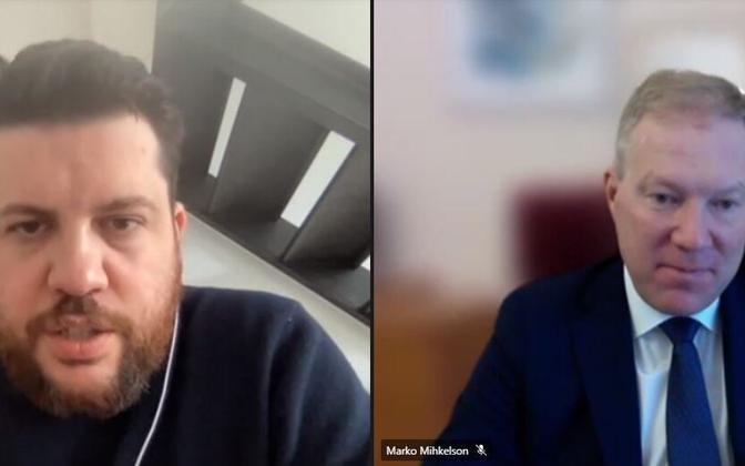 Леонид Волков и председатель парламентской комиссии по иностранным делам Марко Михкельсон.