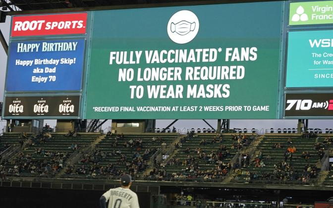 Pesapallivõistluse ajal Seattle'is said täielikult vaktsineeritud fännid omaette tsooni, kus maski kandma ei pidanud.