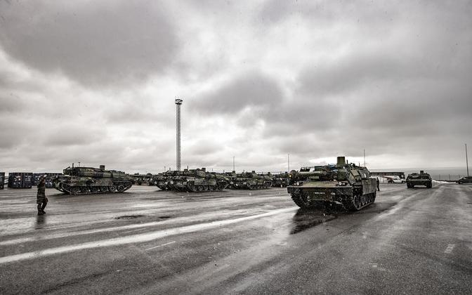 Military equipment at the Port of Paldiski earlier this year.