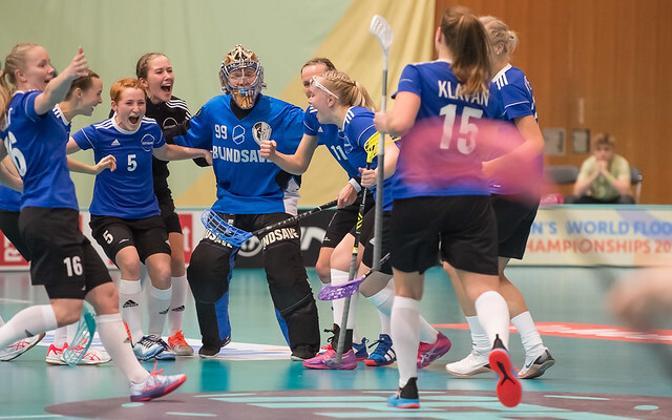 Сборная Эстонии радуется победе над сборной США на ЧМ-2019.