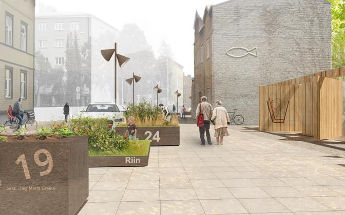 Vana-Kalamaja tänava keskosa. Paremal on näha ajutisel avatavad aiad, mida saab kasutada näiteks välikohvikute või koduaiakohvikute puhul.