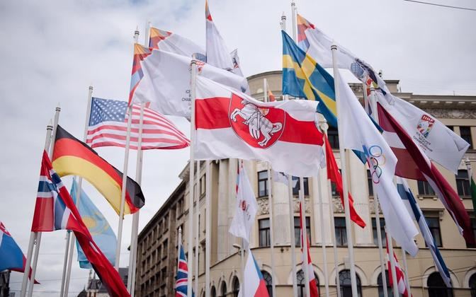 The historic red and white Belarusian flag flying in Riga, Latvia on May 24.