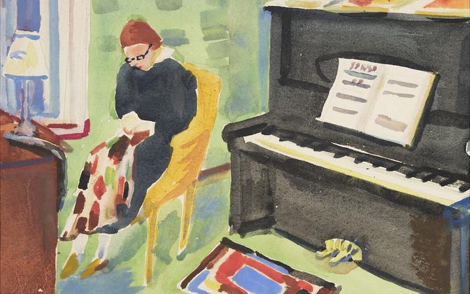 """Karl Pärsimägi, """"Interjöör klaveriga"""", akvarell, enne 1937"""
