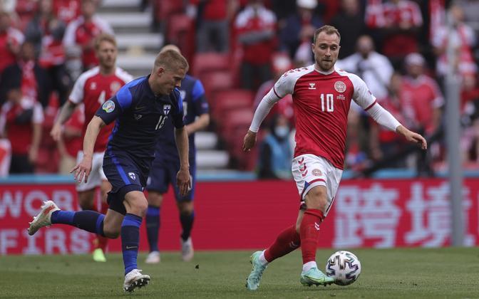 Christian Eriksen mängus Soome vastu