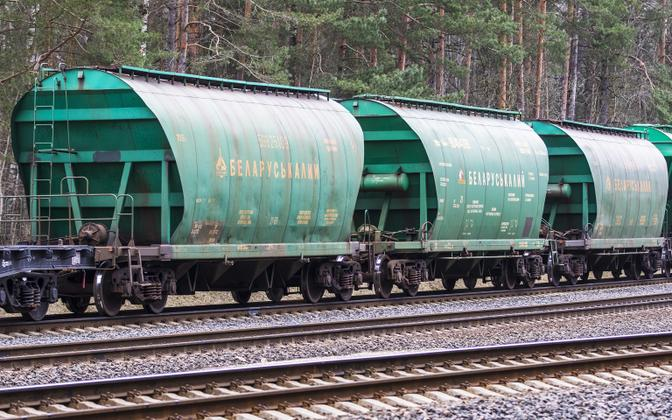 Valgevene kaaliumväetise rong Vilniuses.