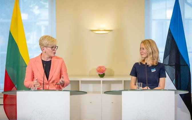 Lithuanian prime minister Ingrida Šimonyte with Kaja Kallas at a meeting in early July.