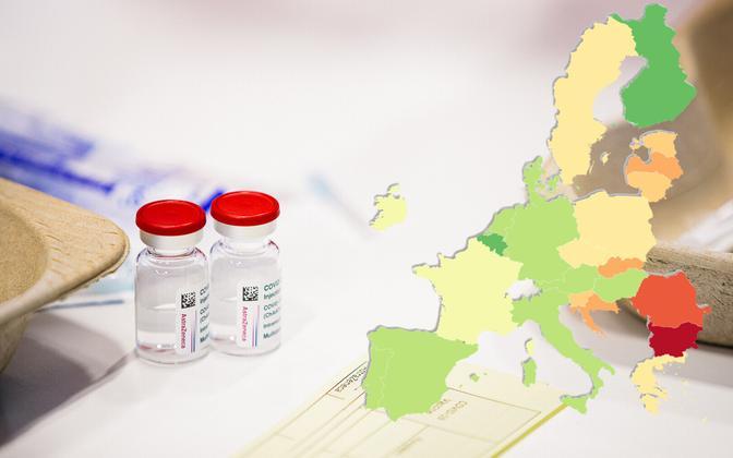 Endise idabloki riikides on saanud vähemalt ühe vaktsiinidoosi kümnde protsendi võrra vähem inimesi kui Euroopa Liidus keskmiselt.