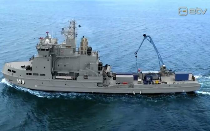 Finnish Navy minelaying vessel on exercise.
