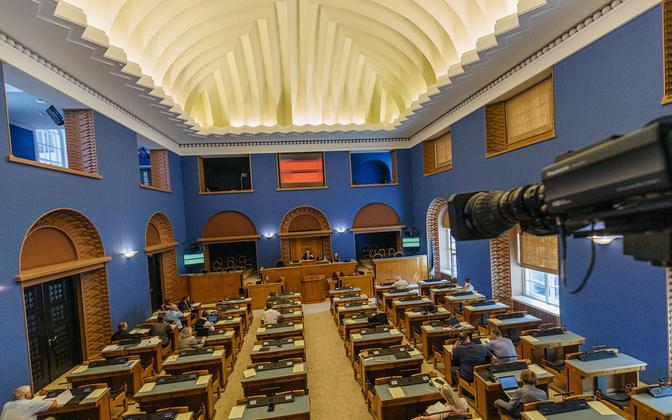 A Riigikogu sitting in process.