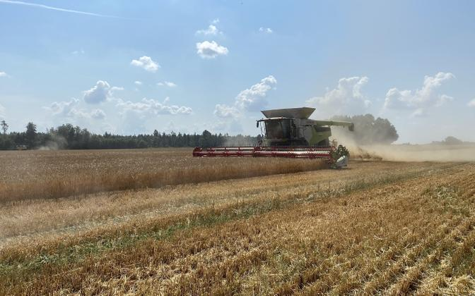 Combine harvester at work in Estonia.