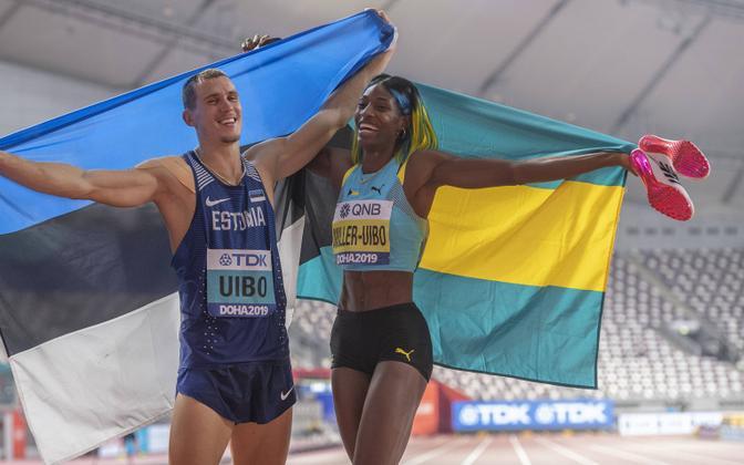 Maicel Uibo ja Shaunae Miller-Uibo Doha MM-il. Kas järgmistel maailmameistrivõistlustel on mõlemad stardis mitmevõistluses?