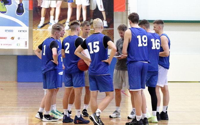 Eesti U-20 noormeeste korvpallikoondise treening