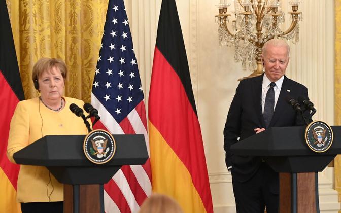 Saksa kantsler Angela Merkel ja USA president Joe Biden presiskonverentsil Valges Majas.
