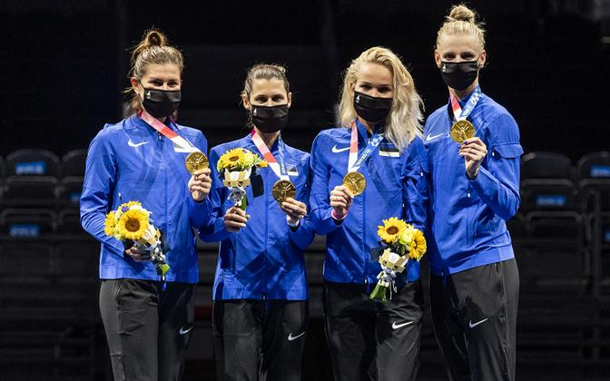 The Estonian women's epee team at the Tokyo Olympics.