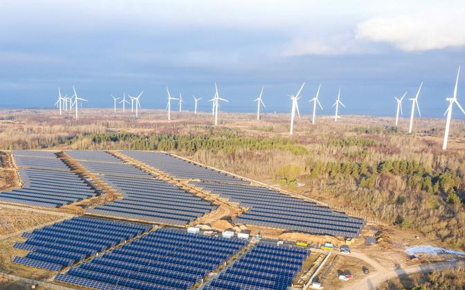 Wind Farm and solar panels.