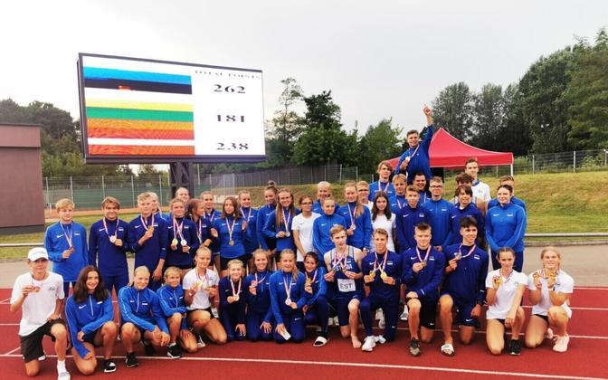 Eesti U-16 kergejõustikukoondis balti matšil