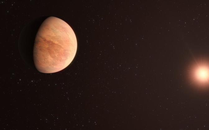 Veenusest kaks korda kergem planeet L 98-59b kunstniku nägemuses.
